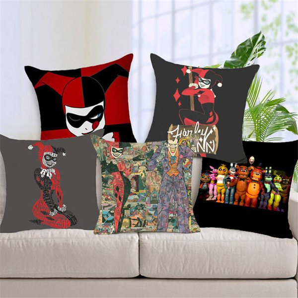 Eco-friendly Natal Harry Quinn Chucky e Almofada Joker Covers poliéster Lantejoula fronha para o sofá cama fronha Nordic
