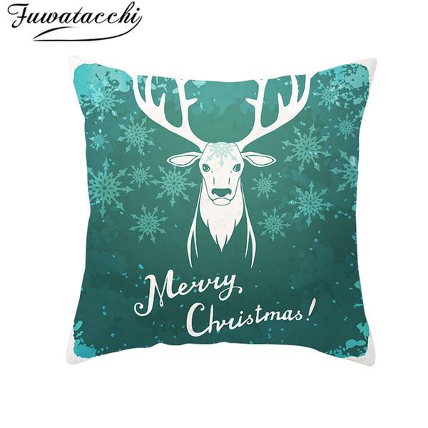 Fuwatacchi Blue Christmas Pillow Mat Cover Nordic Diamond Wave Heart Pillowcase Polyester Home Sofa Chair Decorative Pillow Snow