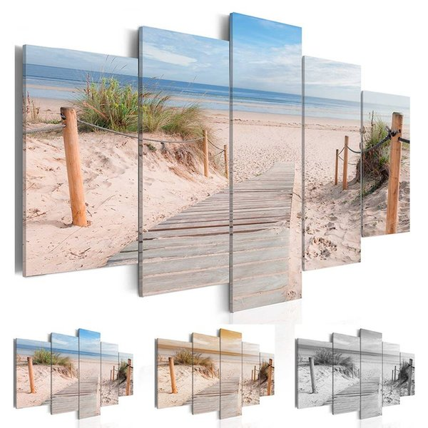 Mode Wandkunst Leinwand Malerei 5 Stücke Blau Orange Grau Strand Ozean Landschaft Moderne Dekoration, Kein Rahmen