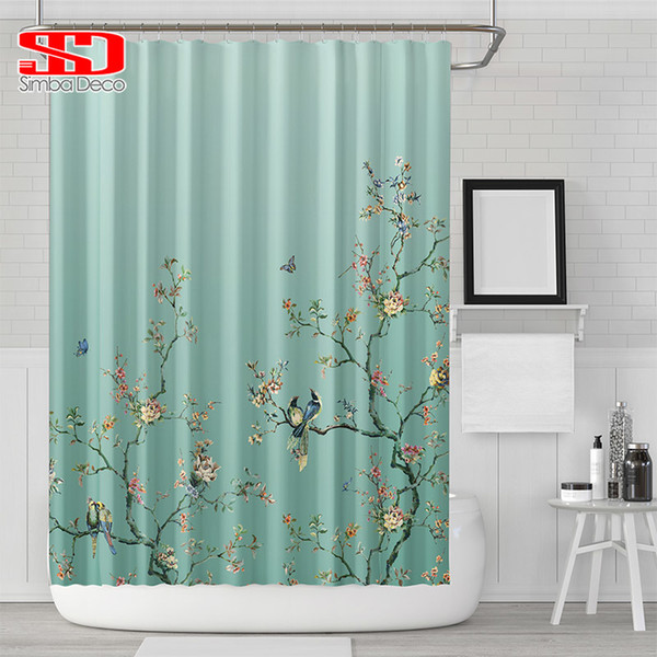 Chinese Birds Gradient Shower Curtains for Bathroom Magpies and Plants Green Waterproof Fabric Polyester Bath Decor 180 x 180cm C18112201