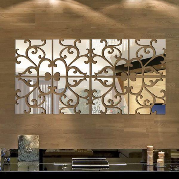 3D DIY etiqueta engomada del espejo pegatinas de pared extraíble espejo tatuajes de pared sala de estar decoraciones modernas autoadhesivas pegatinas
