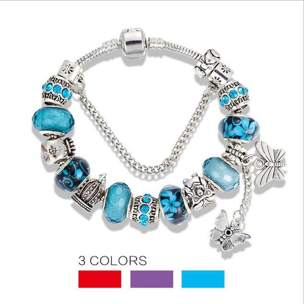 Fit Pandora Charm Bracelets Blue Sky Beads Pulseiras para mulheres borboleta de cristal frisado pulseira pingente senhora glaze pulseiras de amor Jóias