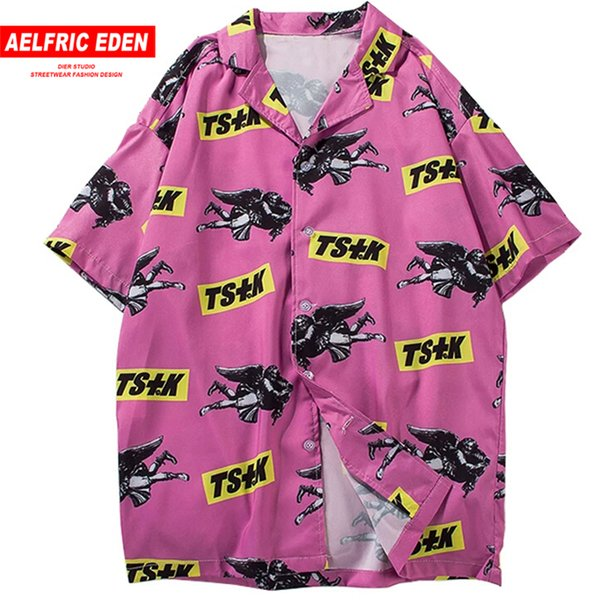 Aelfric Eden Turn-down Shirts Men 2019 Summer Hawaii Short Fashion Tops Tees Male Casual Streetwear Hip Hop Shirt C19040402