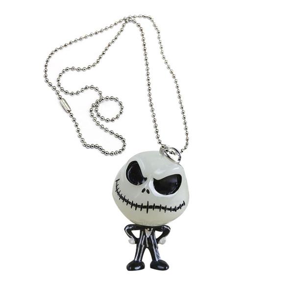 12pcs kafa maske Noel kolye Jack Skellington anahtarlık Nightmare Before karanlık figür oyuncak kolye parıldıyordu