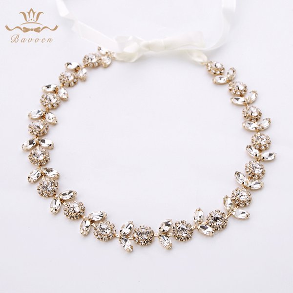 Korean Gold Crystal Brides Hairbands Long Tiaras Headpiece With Ribbon Soft Wedding Hair Accessories Girls Dress Accessories T190628
