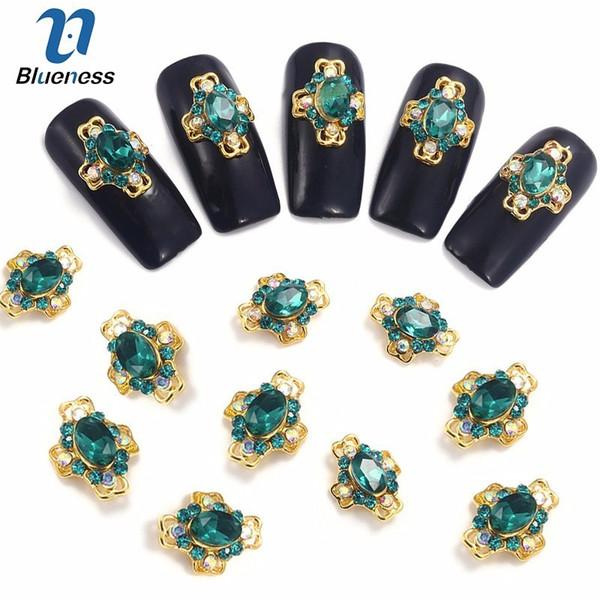 Blueness 10 Unids 3D Clavos de clavo Verde Rhinestones Nail Art Decoraciones Crystal Alloy Manicure Charms Supplies