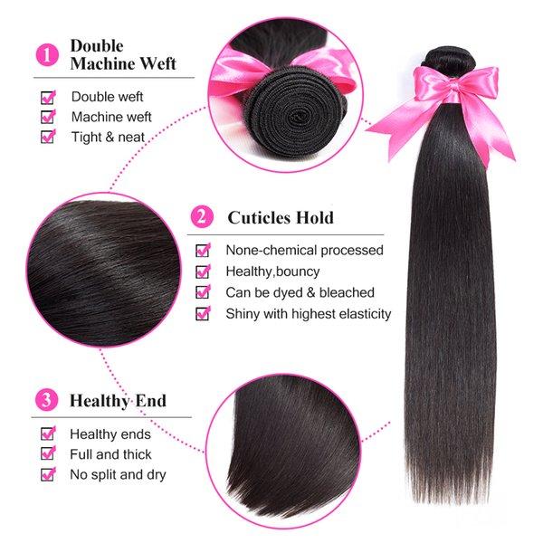 Дешевые девственные прямые волосы бразильские наращивание волос девственные человеческие волосы ткать пучки заводская цена 7А лучшее качество Dyeable естественный цвет