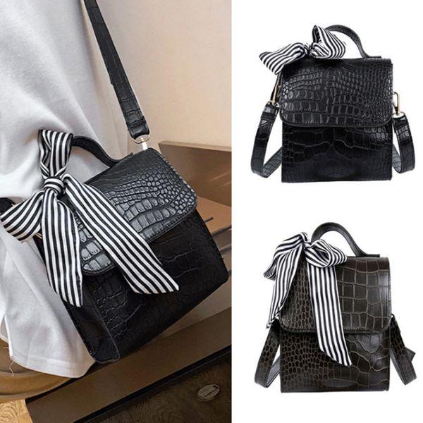 2019 Vintage Women New Crocodile Pattern Handbag Messenger Retro Scarf Shoulder Bag Simple Style Hot Sale high quality brand