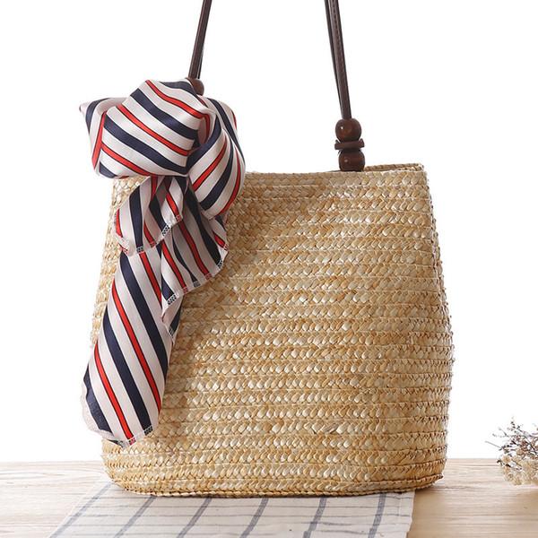Brand Straw Bags Summer Flower Decorative Scarves Bohemia Fashion Women Handbags Stripes Shoulder Bags Beach Bag Big Tote 2019