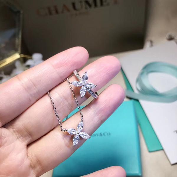 S925 Flor de plata esterlina collar colgante y joyas de diamantes para las mujeres anillo collar pendiente regalo de boda envío gratis PS5155