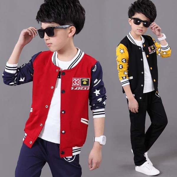 Big Boys clothes Sports Suit Casual Baseball Uniform Coats+Pants 2Pcs Tracksuit 018 Fall Kids Outfits Teenage Child Clothing Set