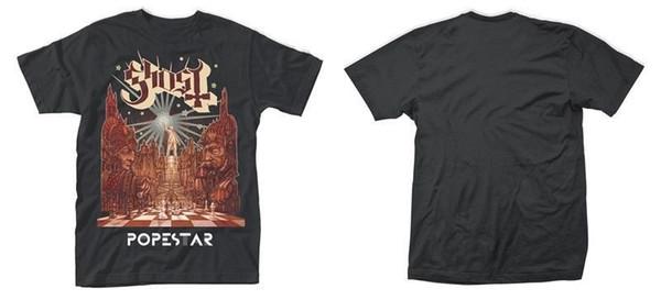 Nueva camiseta oficial de GHOST - POPESTAR marca de moda Razonable al por mayor 100% algodón Camiseta de manga corta con cuello en O Camiseta superior Camiseta básica