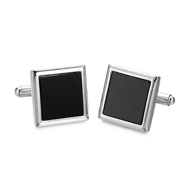La caja negra clásica Gemelos nuevo estilo de diseño camisa de vestir de boda francés gemelos, 1 pares de entrega gratis