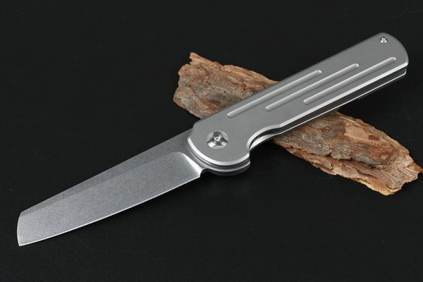 JA14 Ball Bearing Flipper Folding Knife D2 Stone Wash Blade TC4 Titanium Alloy Handle EDC Pocket Folding Knives Tools