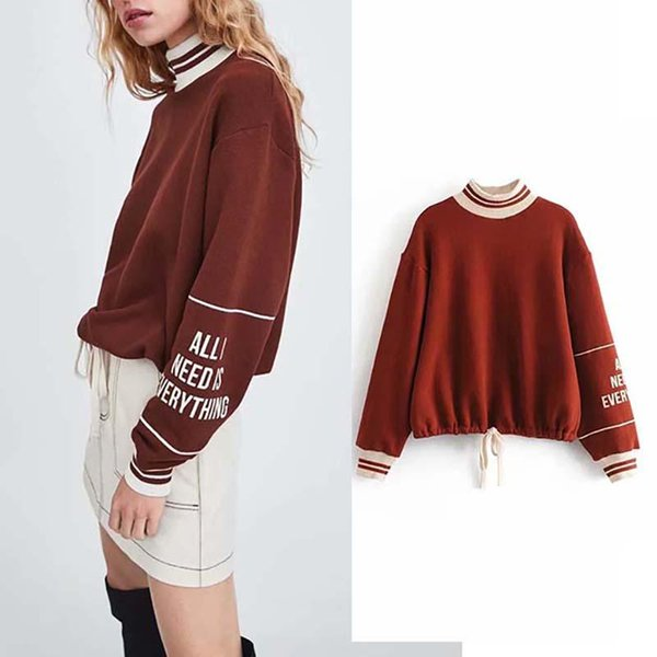 JXYSY winter sweatshirt harajuku letter print turtleneck boyfriend drop-shoulder pullovers hoodies women plus size