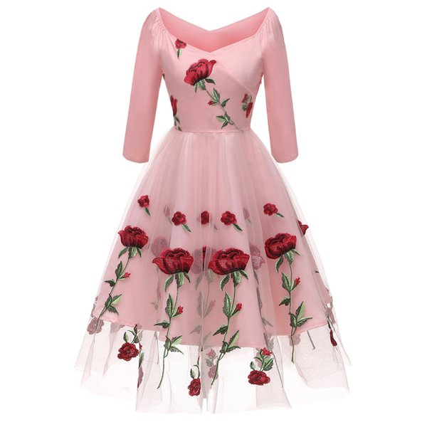 Women Party Dress Rose Floral Embroidery Sexy V Neck 3/4 Sleeve Vintage S M L XL XXL Prom Evening Dress