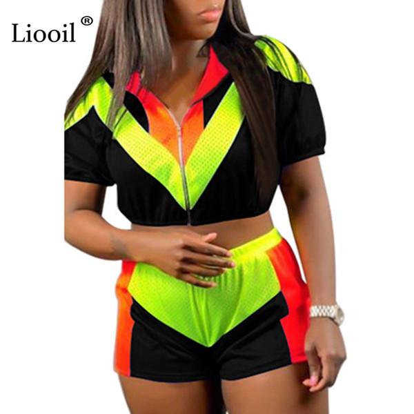 Liooil Color Block, 2 piezas, conjunto, mujer, 2019, top sexy y pantalones, sudadera con cremallera, traje negro, trajes de dos piezas, chándales, conjuntos a juego