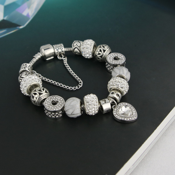 top popular 2020 New silver persistent love Pandora fashion personality bracelet valentine's day beads bracelet gift for a friend wholesale 2021
