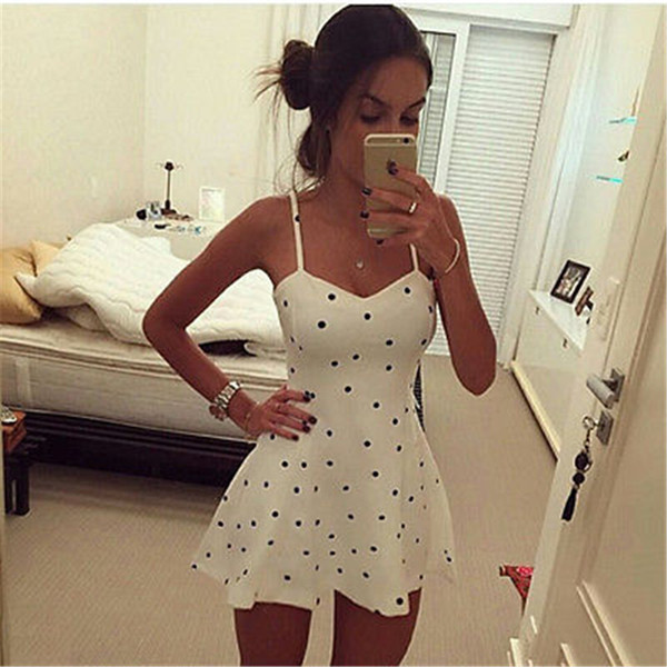 Sexy Women Slim Dress Summer Women Sleeveless Bodycon Casual Short Mini Dress A-Line Dot Women Popular Dress Summer Style