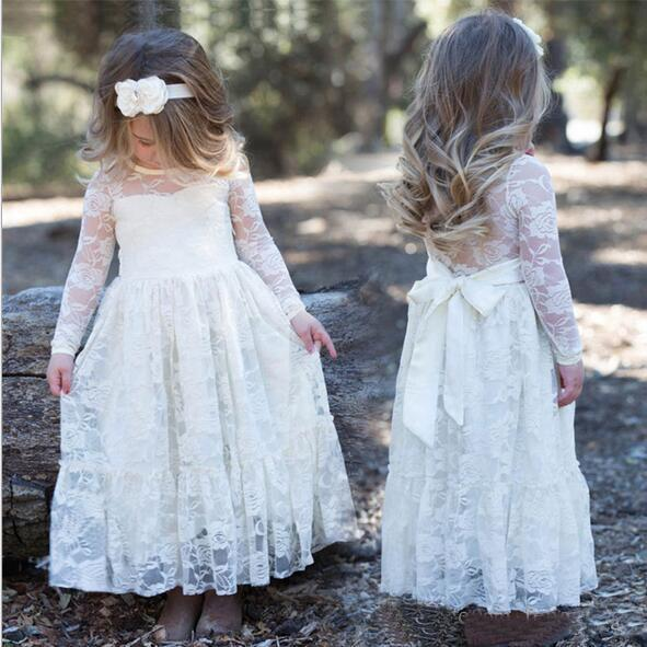 2019 Latest Lovely White Lace Long Sleeve Designer Kids Dresses Jewel Neck Bow Sash Full Length Free Shipping Kids Party Gowns