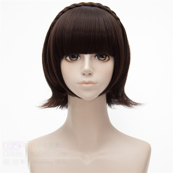 Halloween Costume Ideas For Girls With Short Hair.Ostumes Accessories Cosplay Costumes Anime Game Persona5 Makoto Niijima Cosplay Wig Halloween Party Stage Play Dark Brown Short Hair High Cool