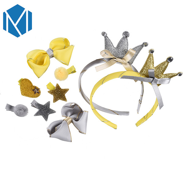 Mism Cute Girl Headwear Set Lovely Hair Bands Kid Ribbon Bow Hairpin Hair Clip Children Star Pompom Crown Tiara Accessories