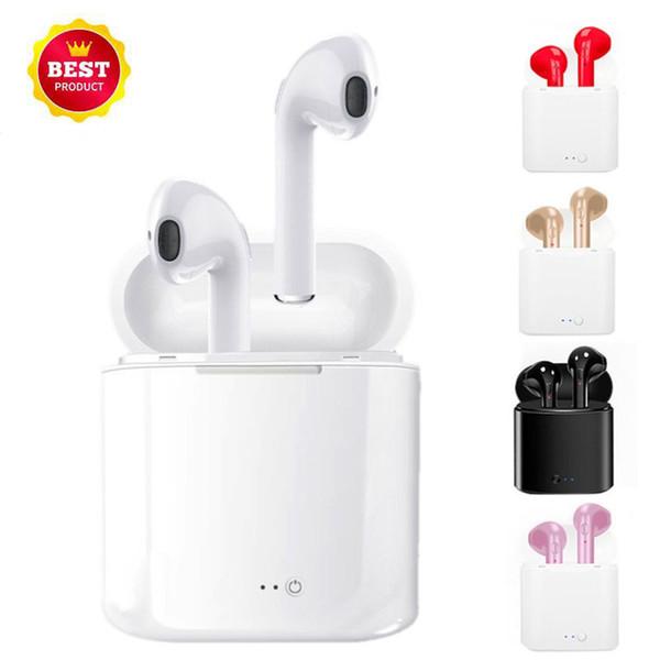 I7 I7S TWS Gêmeos Bluetooth Earbuds Mini Fones De Ouvido Sem Fio fone de Ouvido com Microfone Estéreo V4.2 Fone De Ouvido para o iphone X XS Android Com caixa de Carregamento