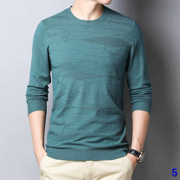 High Street Sweater Mens Knit shirt Round Neck Bottoming Shirt Solid Color Designer Long Sleeve Casual Pullover Sweatershirt Size M-4XL5