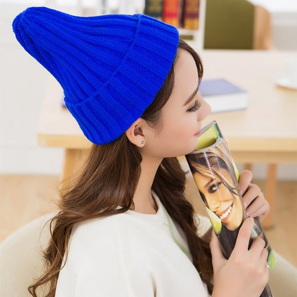 Unisexe au Japon et en Corée du Sud chaudes tricoter des chapeaux de pompage de femmes chapeau filles simples motif casquettes coniques