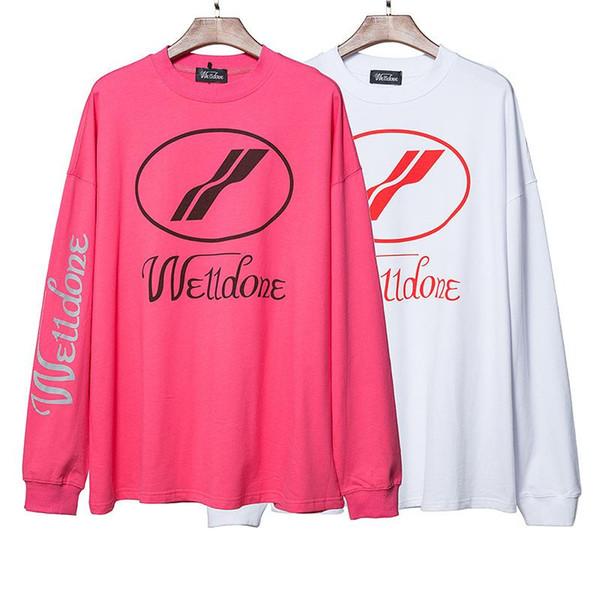 Welldone Lettre Imprimer Sweatershirt Retro Hip Hop rue Tide Hoodies des femmes des hommes Couple Pull noir et blanc en poudre