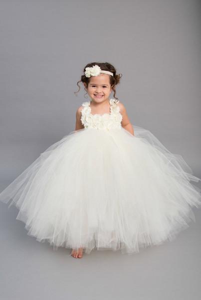 2019 Hohe Qualität Nette Heilige Weiße Kleine Mädchen Kleider Tüll Platz Ausschnitt Blumen Mieder Kinder Pageant Kleider Mädchen Party Kleider