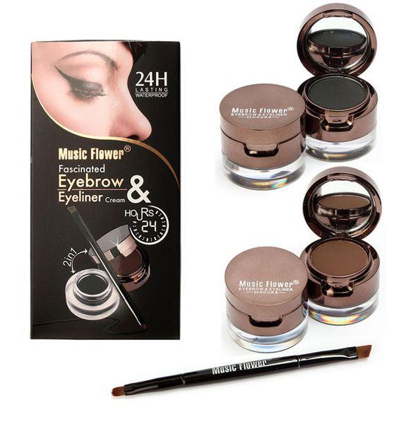 Dropshipping Musique Fleur Marque 2 En 1 Gel Eyeliner Sourcils Poudre Maquillage Palette Étanche Noir Brun Naturel Eye Liner Cosmétiques Set