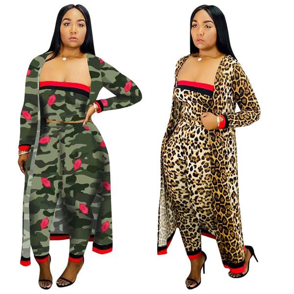 3PCS Costumes Automne Femmes Camouflage Leopard trois pièces soutiens-gorge Casual Top Pantalon jambe droite pleine manches Tenues long manteau