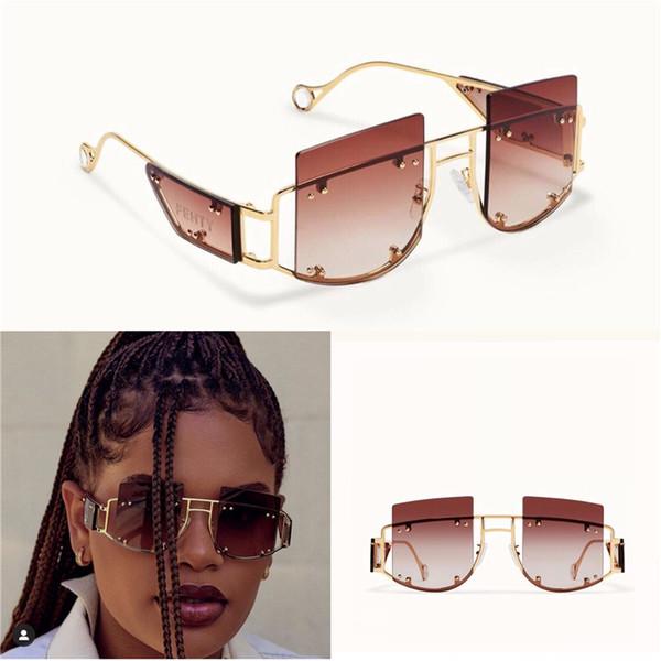 Yeni moda avant-garde güneş gözlüğü FENTY özel tasarım küçük kare çerçeve koruma gözlüğü en kaliteli açık renk dekoratif gözlük