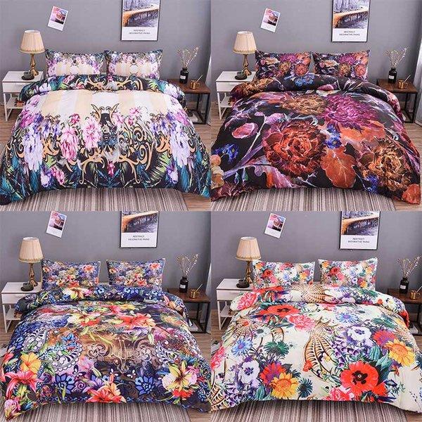 Boniu 3d Peinture À L'huile Literie Ensemble Multi-couleur Fleurs Couette Couverture 2/3 pcs Filles Housse De Couette Twin Queen Taille Quilt