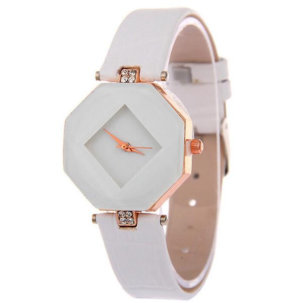 Único Das Mulheres Homens Relógios Moda Irregular Forma Alloy Dial PU Pulseira De Couro Senhoras Relógio de Pulso Analógico De Quartzo Relógio de Presente relogio