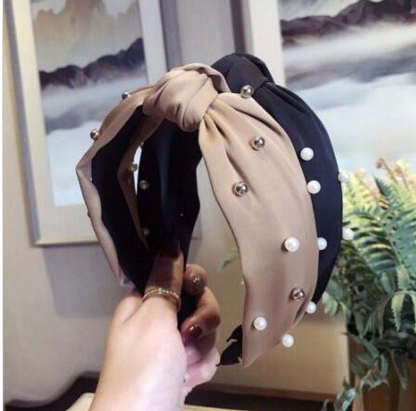 Moda Geniş Yan Hairband Güzel Türban Kafa Bandı Inci Saç Aksesuarları Taze Kadın Saç Çember Çizgili Saç Bantları GB1042