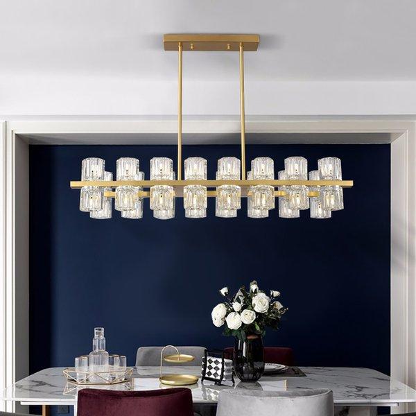 Salon fenerler altın Modern dikdörtgen kristal avize aydınlatma avize mutfak ışıkları süslemeleri açtı