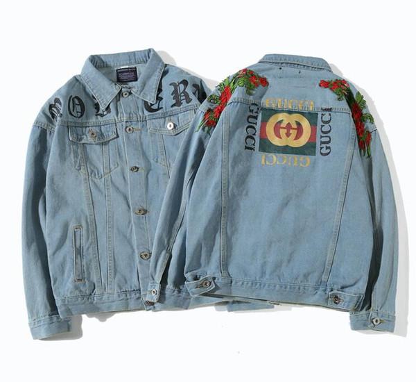 Primavera otoño gc Hombres mujeres chaqueta de mezclilla Europa América hip hop moda deportiva Rosa jean chaqueta costura joven calle casual abrigo M-XXL