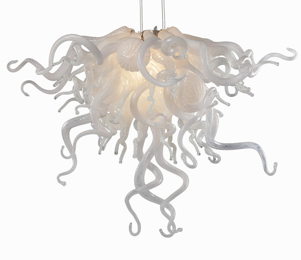 best selling Modern Light Hand Blown Murano Glass Chandelier Light in Clear and Milky White Urban Design for Table Top Decoration LED Pendant Lamps