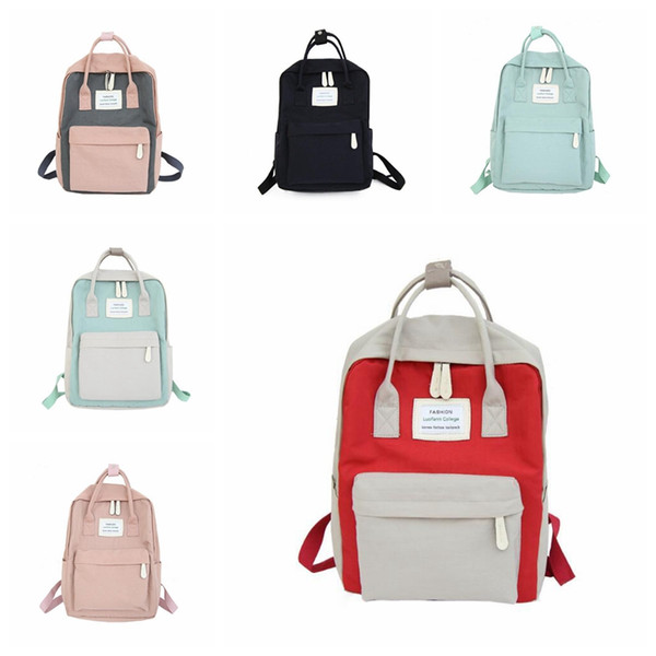 Women Canvas Backpacks Candy Color Waterproof School Bags for Teenagers Girls Laptop Backpacks Patchwork Backpack MMA1421