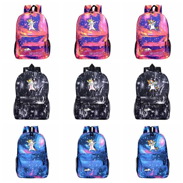 Cartoon Unicorn Backpack Galaxy Print Shoulders Niños Niños Mochila escolar Viaje Camping Mochila Alta capacidad 32 Estilos HHA485