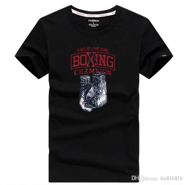 Tallas grandes Camiseta de manga corta Casual Movimiento de BOXEO Estampado de letras 65% algodón Material delgado Camiseta de verano Camiseta de la marca Leniency Hip hop Ropa de ocio