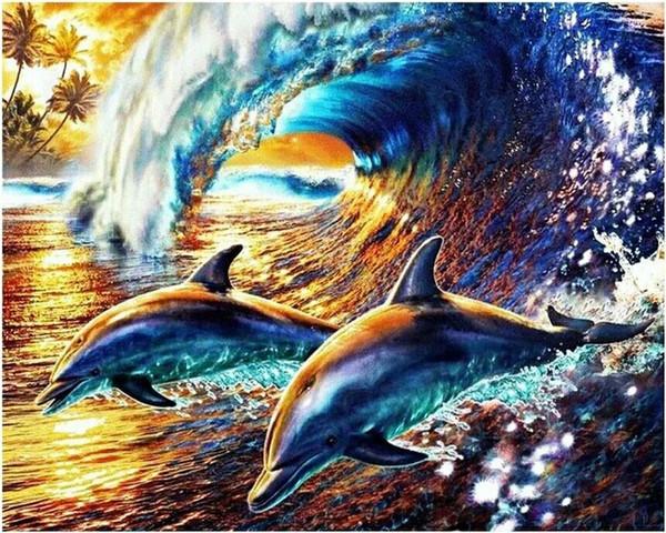 Diy Diamond Painting Christmas Gift Cross Stitch Needlecraft Home Decoration Diamond Embroidery Fantasy dolphin Free Shipping