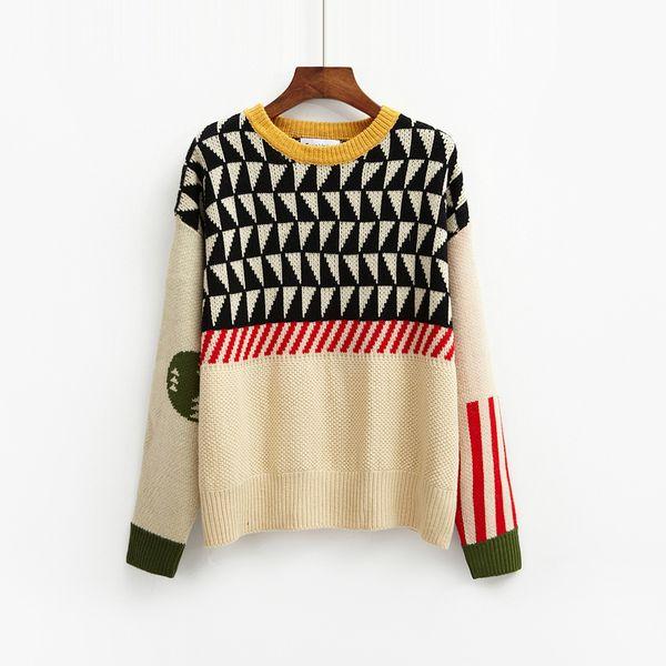 2019 Harajuku Корейский Новый Зимний Kawaii Женщины Свитер Рождество Сладкие Стеганые Геометрические Трикотажные Женские Свитера И Пуловеры