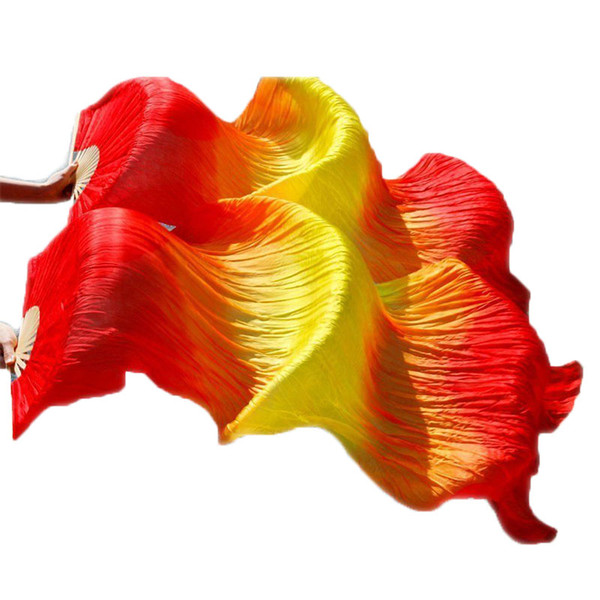 Women 1.8m Hand Made Cheap Belly Dance Silk Fan Veils Strong Bamboo Fire Color Red Yellow Red
