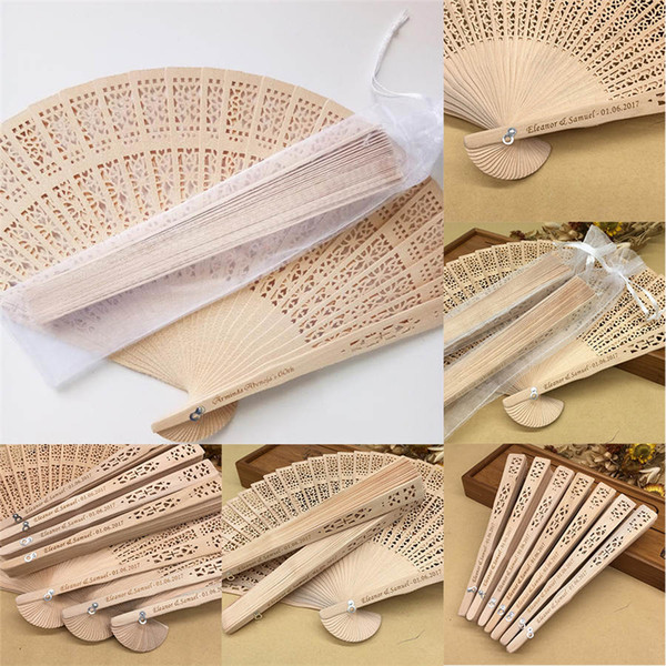 50pcs / lot personnalisé bois de santal pliant fans de la main mariage faveurs cadeaux de fête des fans avec emballage de fil de soie transparent