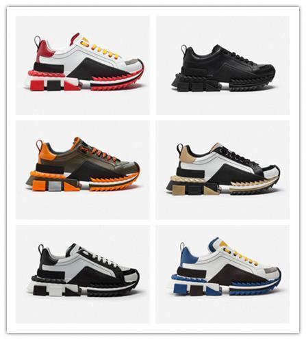 Git tasarımcı shoes635d # On Kadın ve Erkekler için 2019 YENİ Yüksek TOP Kırmızı Alt Süper Kral Sneakers Çok renkli Sorrento Sneakers