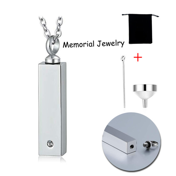 Rectangle Cremation Jewelry Charm Urn Pendant Necklace for Ashes Stainless Steel Waterproof Memorial Ash Keepsake Jewelry