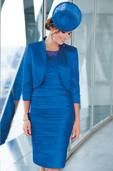 Modest Royal Blue Mother of the Bride Dresses Jacket Outfit Jewel Neck 3/4 Long Sleeves Appliqued Rhinestone Plus Size Wedding Guest Gown